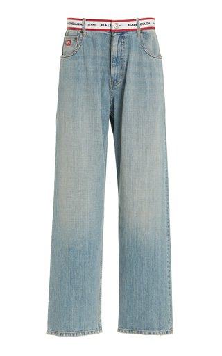 Logo-Print Rigid Drop-Rise Wide-Leg Jeans
