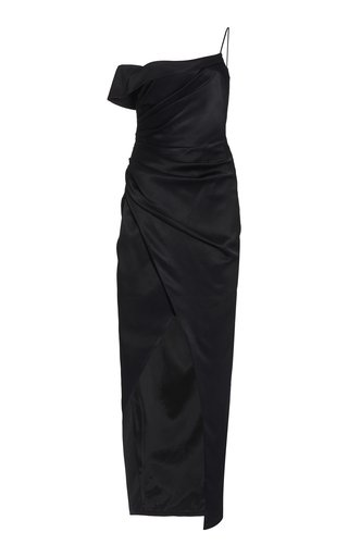 Exclusive Gathered One-Shoulder Satin Dress