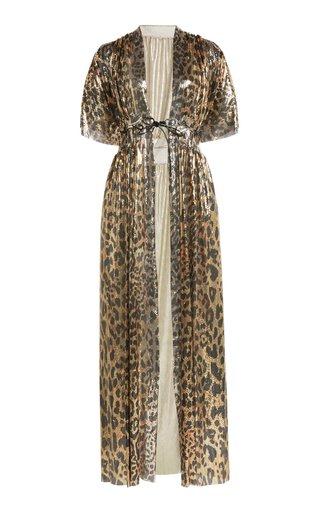 Leopard-Print Chainmail Kimono