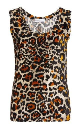 Leopard Metallic-Knit Top