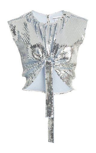 Sequined Jersey Cropped Top