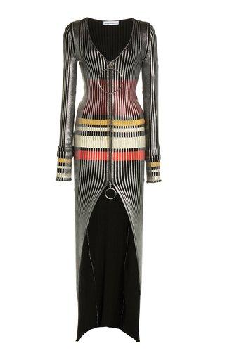 Kinetik Striped Wool-Knit Maxi Dress