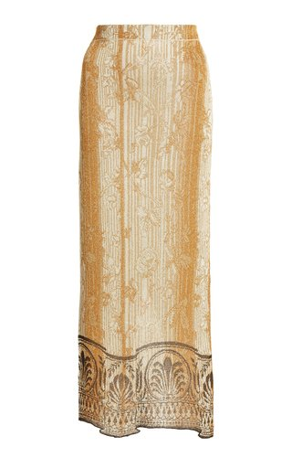 Printed Jacquard-Knit Maxi Skirt