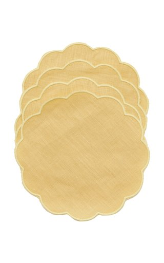 Set-Of-FourScalloped Linen Coasters