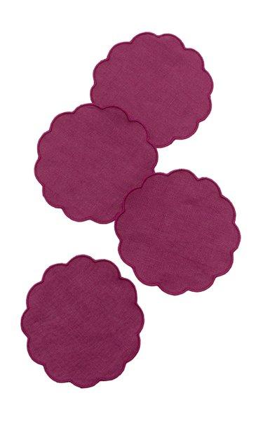 Set-Of-FourScalloped Linen Coasters