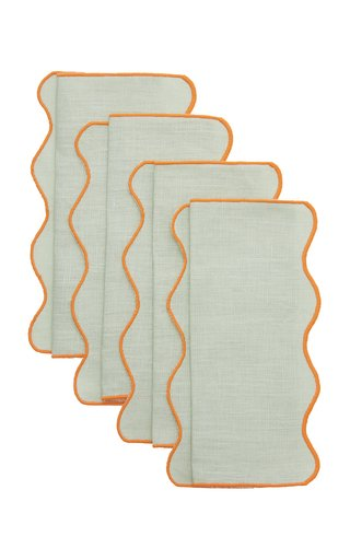Set-Of-Four Scalloped Linen Cocktail Napkins