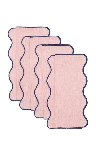 Set-Of-Four Scalloped Linen Cocktail Napkins