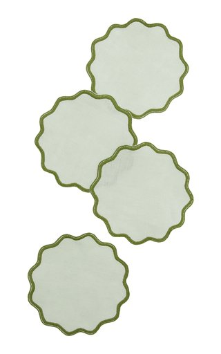 Set-Of-Four Scalloped Linen Coasters