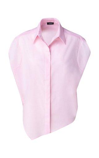 Asymmetric Cotton-Voile Tunic Blouse