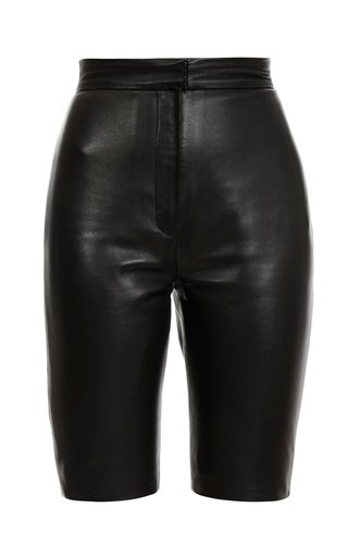 High Waist Leather Cycling Shorts