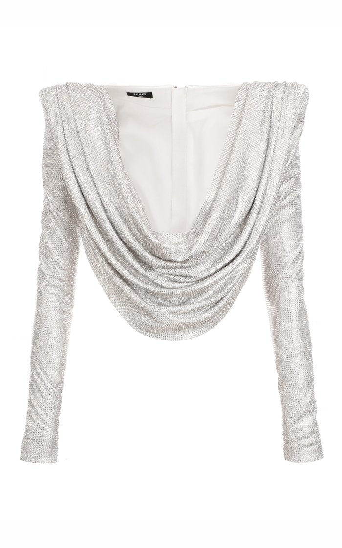Draped Embroidered Top