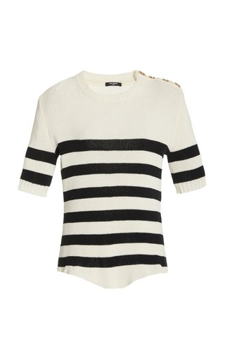 Striped Ribbed-Knit Cotton-Blend Top