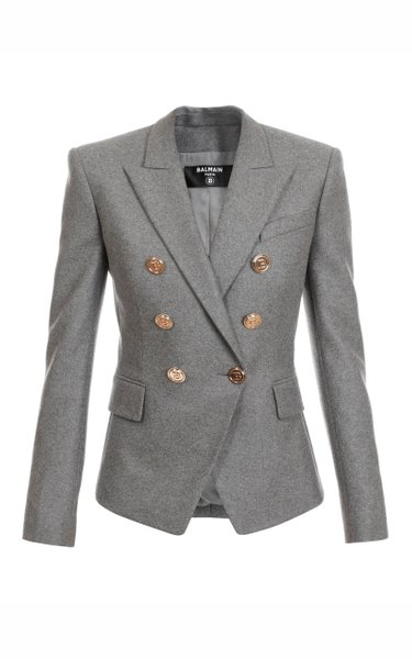 Double-Breasted Flannel Blazer