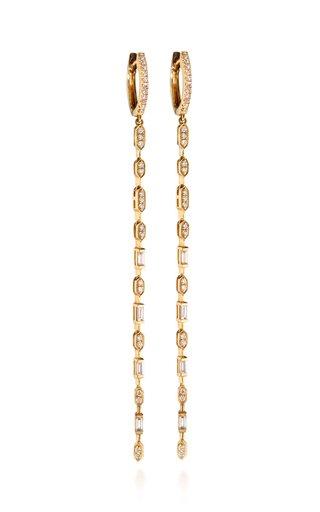 Linear 18K Yellow Gold Diamond Earrings