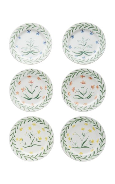Set-Of-Six Painted Ceramic Dinner Plates