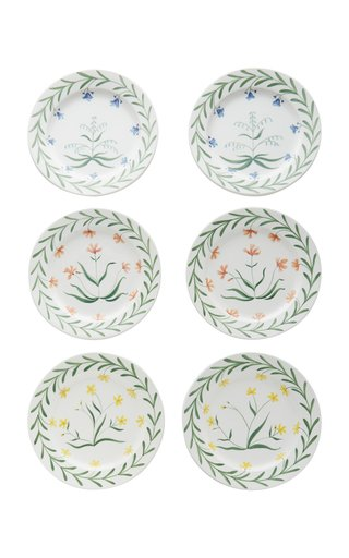 Set-Of-Six Painted Ceramic Dinner Plates