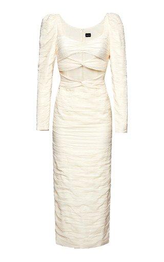 Ruched Cutout Silk-Blend Midi Dress