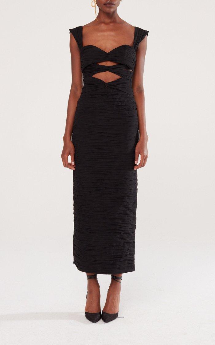 Cutout Silk-Blend Midi Dress