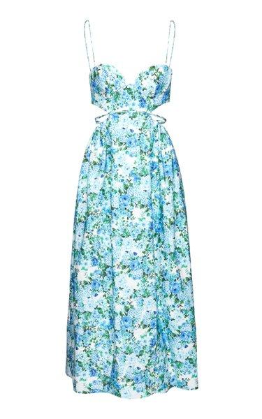 Printed Cotton-Blend Midi Dress