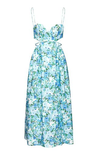 Printed Cotton-Blend Midi Dress
