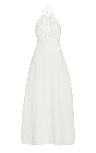 Blanche Low-Back Linen Midi Dress