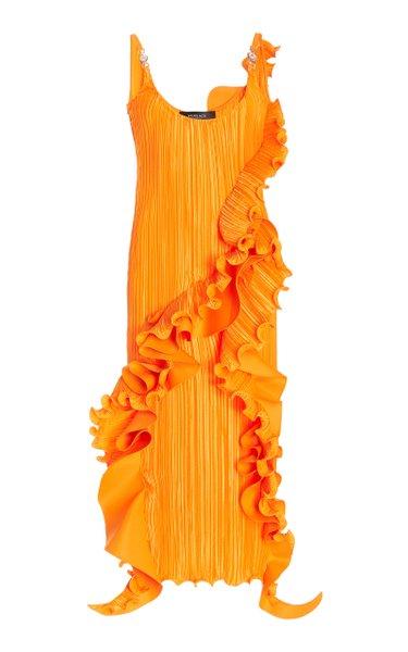 Ruffled Plissé Midi Dress