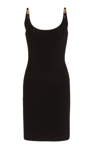 Charm-Detailed Ribbed-Knit Mini Dress