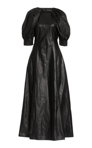 Puga Puff-Sleeve Leather Dress
