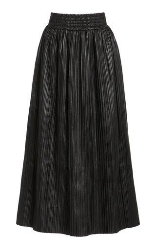 Dakota Plissé Leather Skirt