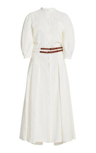 Lewis Puff-Sleeve Linen Dress