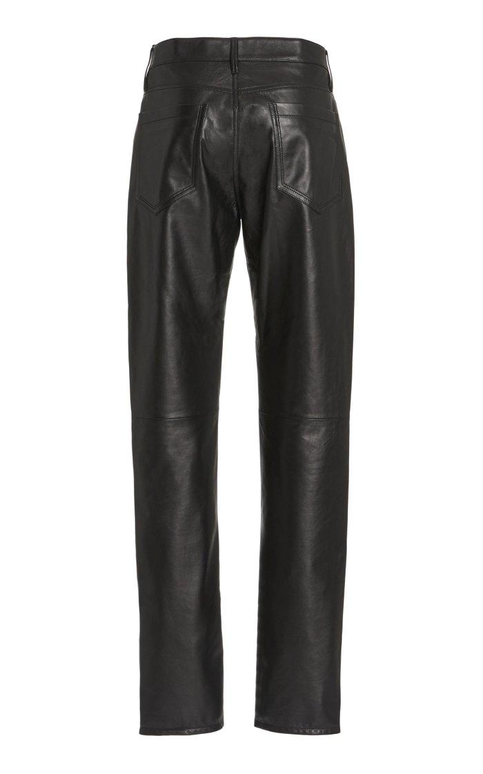 Charles Leather Straight-Leg Pants