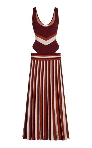 Stand Striped Merino Wool Knit Dress