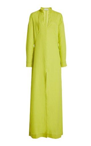 Albon Woven Aloe Linen Shirt Dress