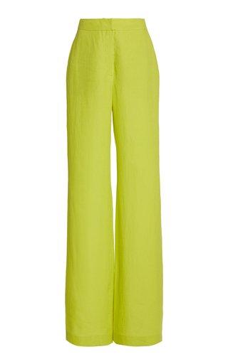 Sonya Woven Aloe Linen Straight-Leg Pants