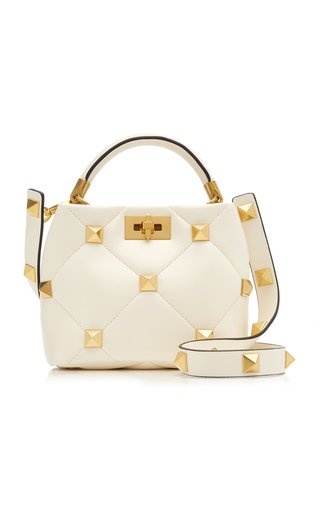 Valentino Garavani Small Roman Studded Leather Top Handle Bag