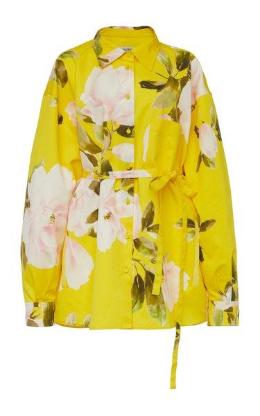 Oversized Floral Cotton-Silk Shirt