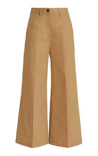 Cotton-Gabardine Wide-Leg Pants