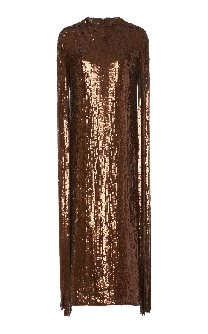 Fringed Silk Sequin Midi Dress