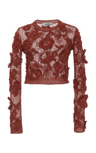 Floral-Embroidered Open-Knit Sweater