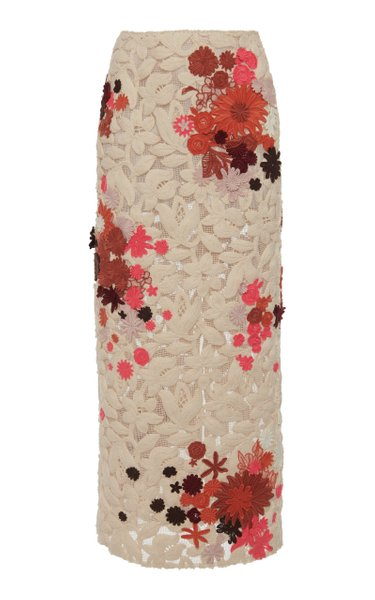 Floral-Embroidered Cotton Skirt