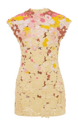 Floral-Applique Cotton-Blend Mini Dress
