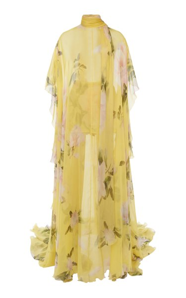 Floral-Printed Silk Gown
