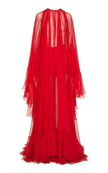 Draped Silk Cape Gown