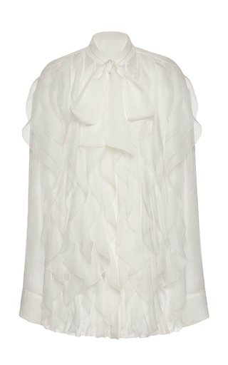 Ruffled Silk Button-Down Shirt