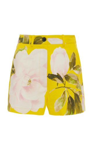 Floral Cotton-Silk Shorts