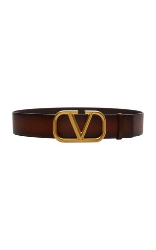 Valentino Garavani Hand Brushed Leather VLogo Belt