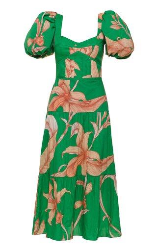 Culture Puff-Sleeve Floral Cotton Midi Dress