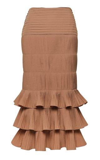 Canela Flavour Cotton-Blend Plissé Midi Skirt