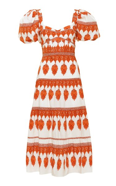 Culture Puff-Sleeve Printed Cotton Midi Dress