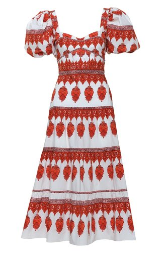 Culture Puff-Sleeve Printed Cotton Midi Dress